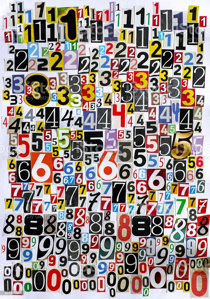 Cut out numbers stock photo