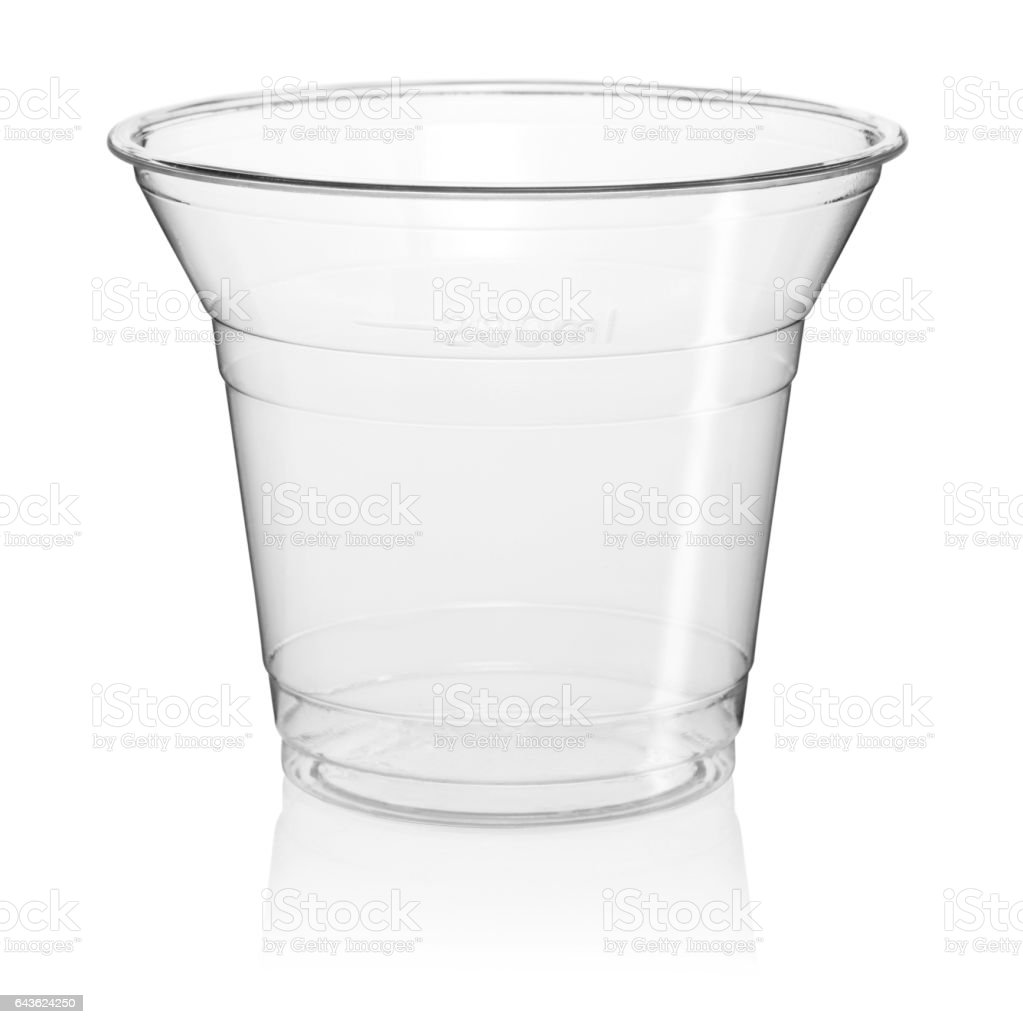 Cut Out of a Clear Disposable Plastic Cup stock photo