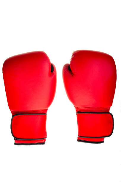 cut out pair of red boxing gloves stock photo