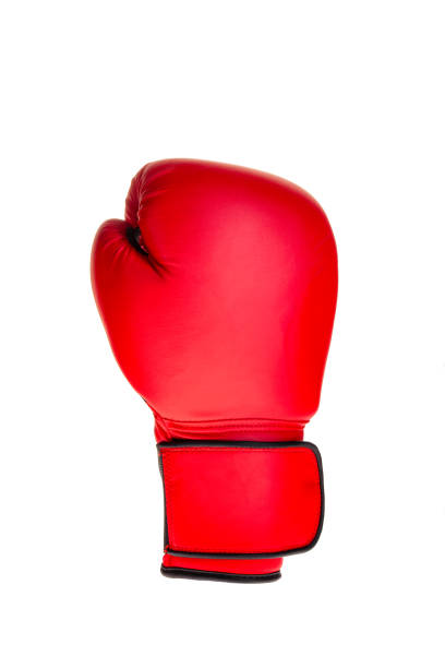 cut out red single boxing glove stock photo