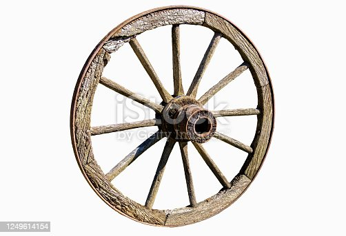 Cut out wooden wheel on white background for graphic artists