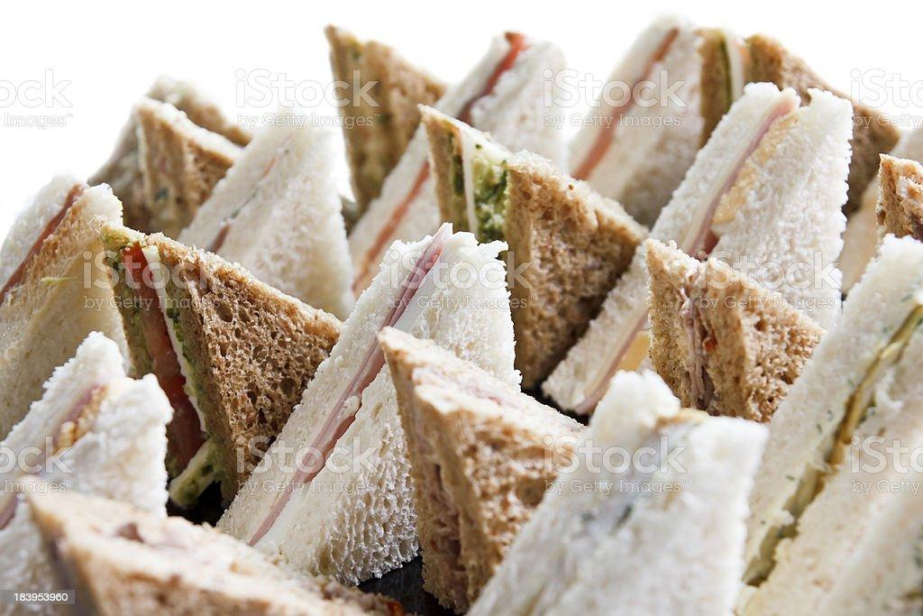 Cut platter of mixed  sandwich triangles stock photo