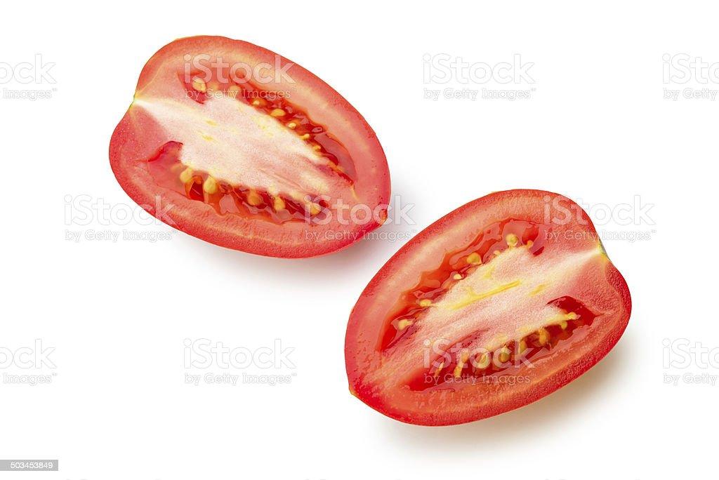 Cut San Marzano Tomato stock photo