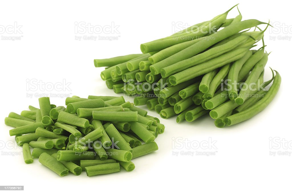 cut small and slender green beans (haricot vert) stock photo
