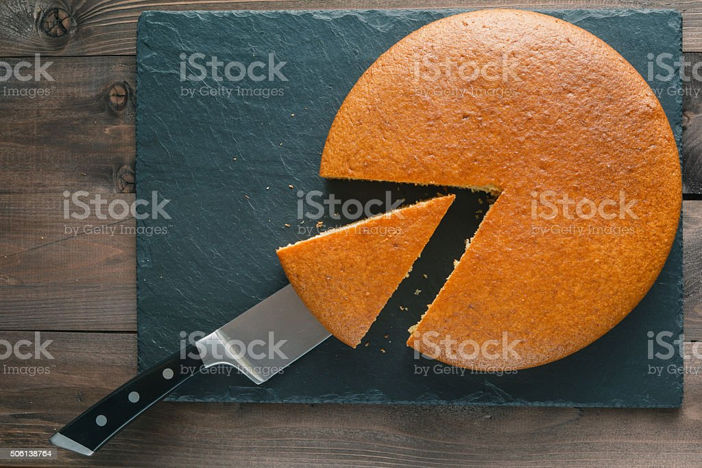 Cut small sector from manna pie stock photo