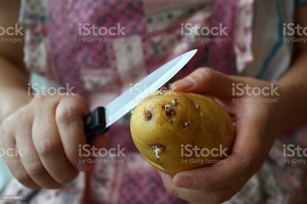 Cut the sprouting potatoes stock photo