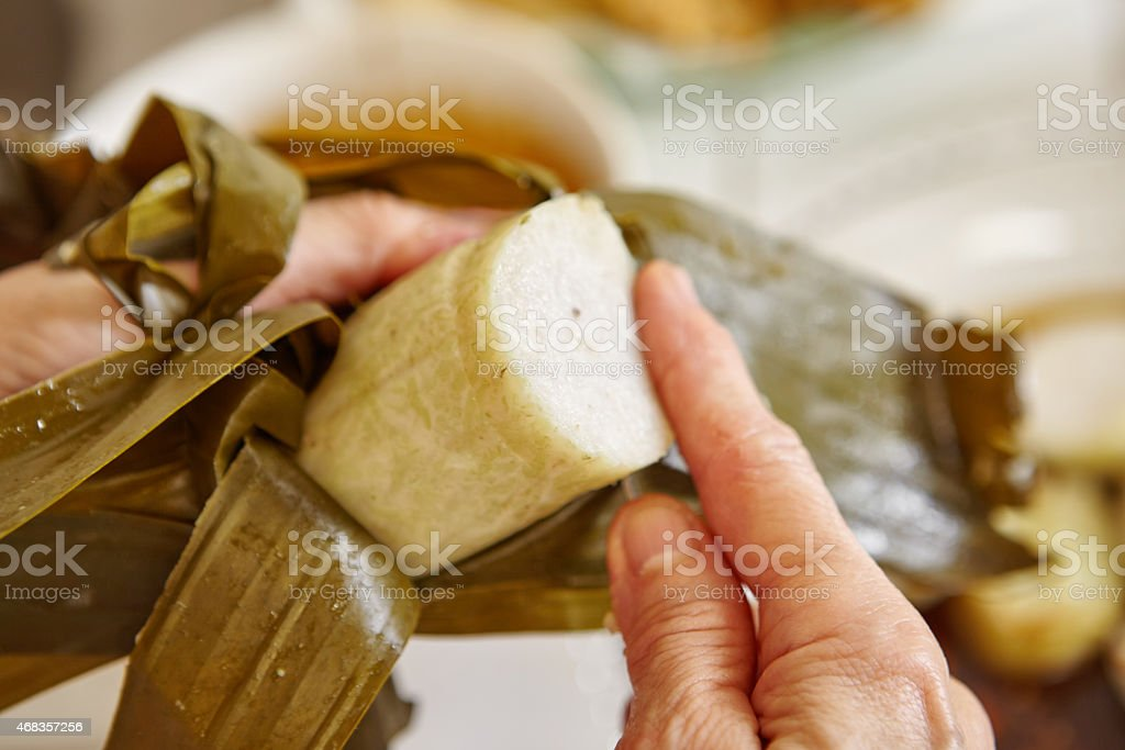 Cut the steamed rice cake royalty-free stock photo