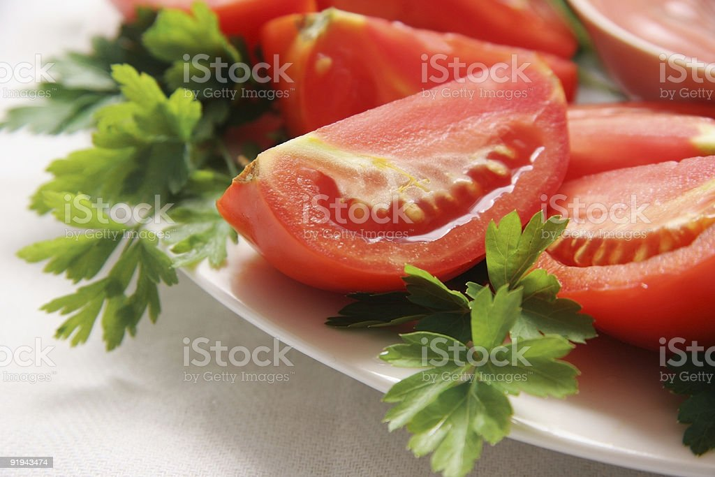 Cut tomatoes. royalty-free stock photo