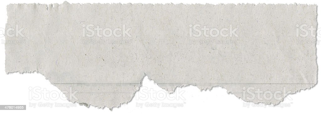 Cut, Torn Piece of Newspaper stock photo