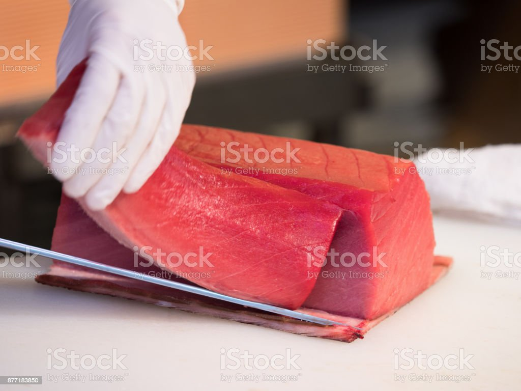 Cut tuna stock photo