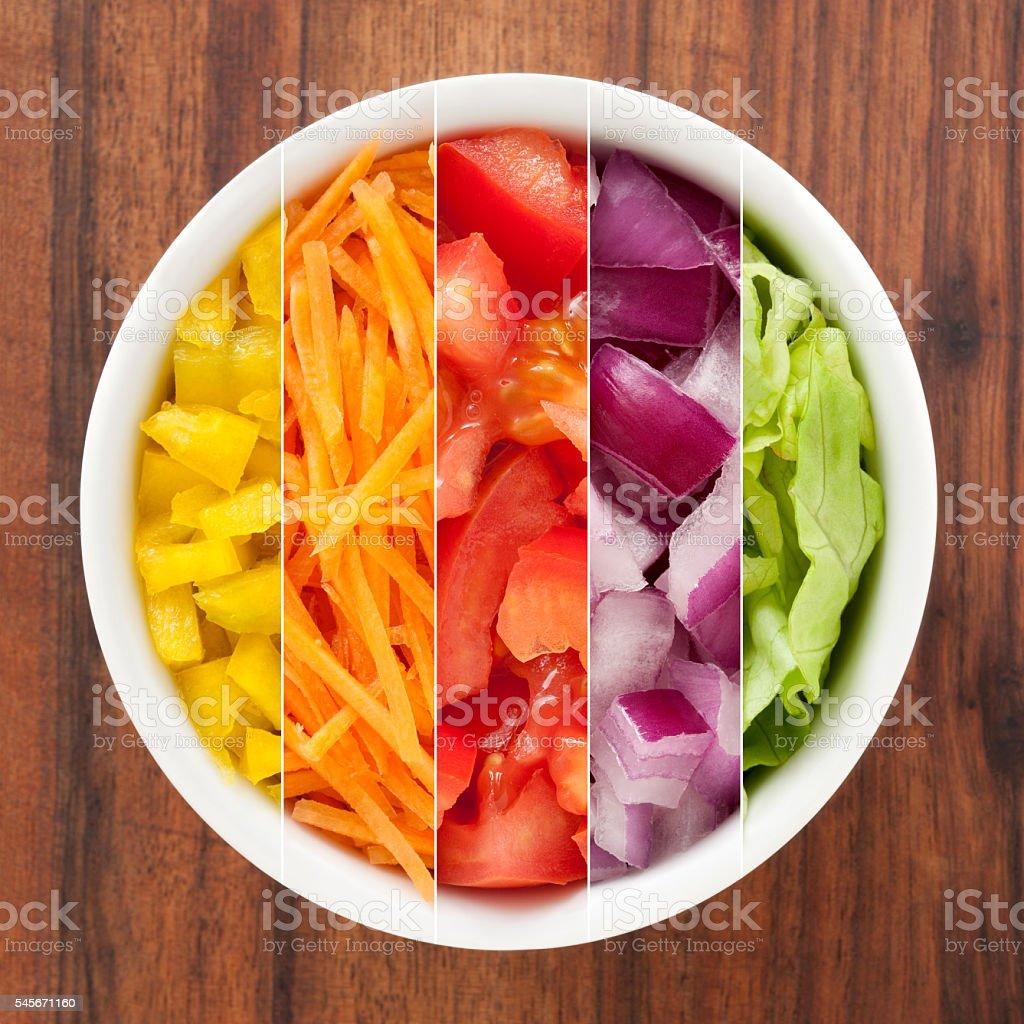 Cut vegetables composition stock photo