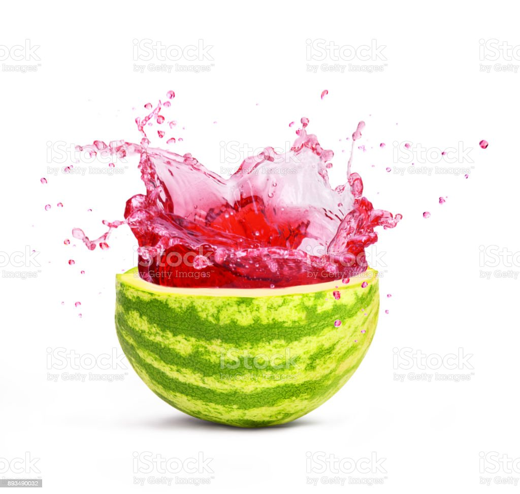 cut watermelon with splash stock photo