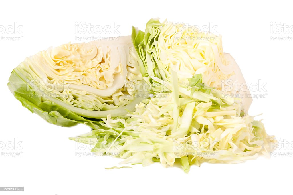 cut young cabbage head isolated on white background royalty-free stock photo