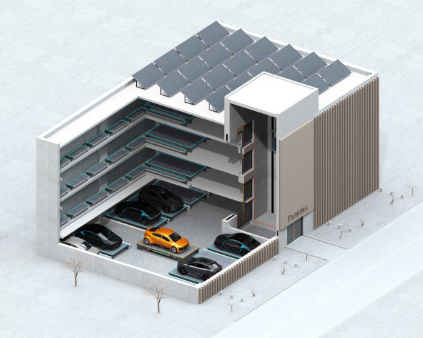 Cutaway concept image for automatic car parking system by AGV stock photo