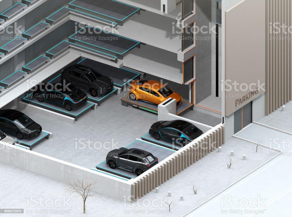 Cutaway Konzept Bild für automatische Parkplatz System von AGV – Foto