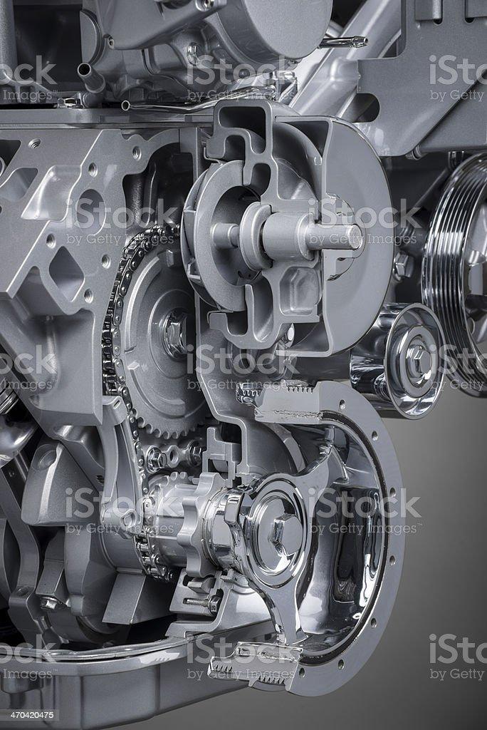 Cutaway Blick auf eine V-8 Motor der Vorderseite – Foto