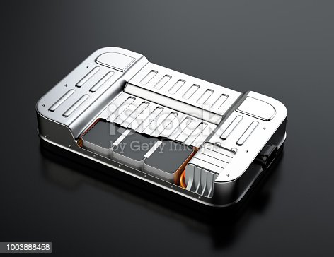 istock Cutaway view of electric vehicle battery pack on black background 1003888458