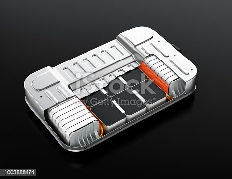 istock Cutaway view of electric vehicle battery pack on black background 1003888474