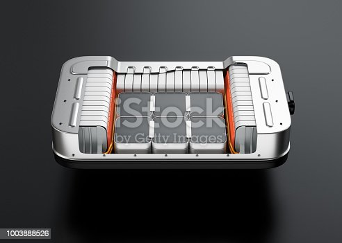 istock Cutaway view of electric vehicle battery pack on black background 1003888526
