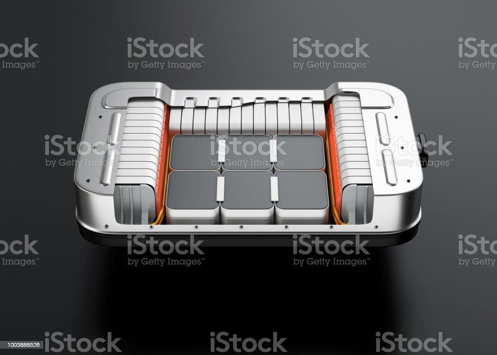 Querschnittsansicht des Elektro-Fahrzeug-Akku-Packs auf schwarzem Hintergrund – Foto