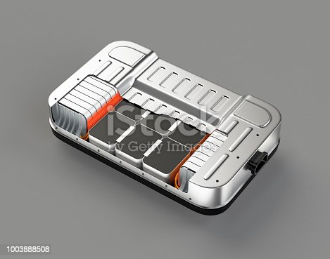 istock Cutaway view of electric vehicle battery pack on gray background 1003888508