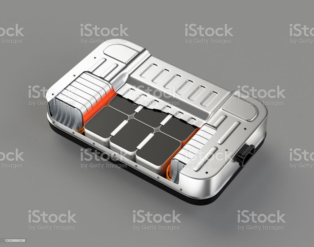 Querschnittsansicht des Elektro-Fahrzeug-Akku-Packs auf grauem Hintergrund – Foto