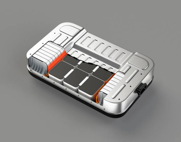 Cutaway view of electric vehicle battery pack on gray background Cutaway view of electric vehicle battery pack on gray background. 3D rendering image. hybrid vehicle stock pictures, royalty-free photos & images