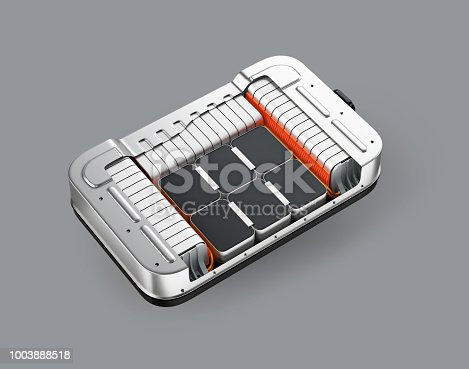 istock Cutaway view of electric vehicle battery pack on gray background 1003888518
