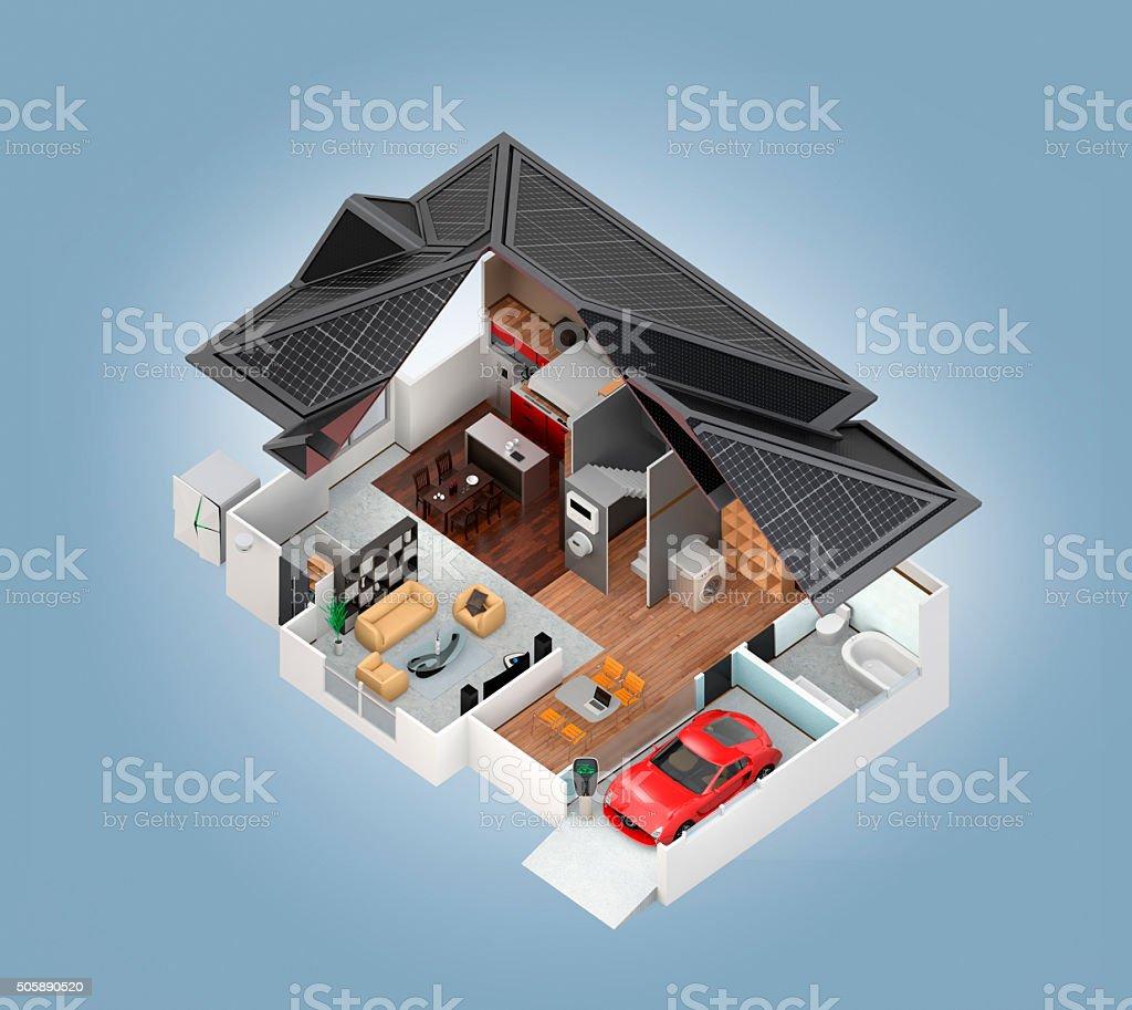 Cutaway Blick auf smart Haus innen isoliert auf Blau Hintergrund – Foto
