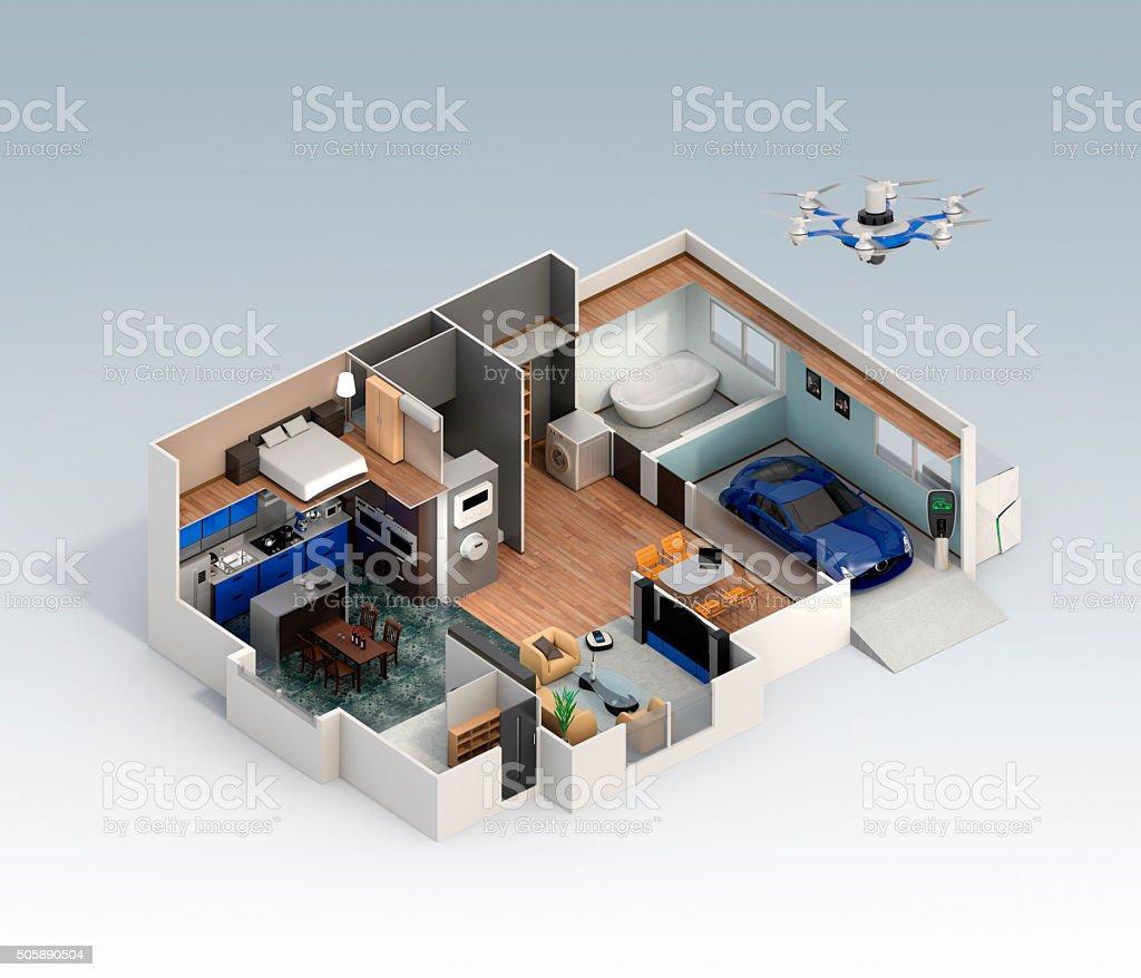 Cutaway Blick auf smart house Innenansicht – Foto