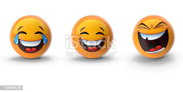 istock Cute 3D Emoji Set of Three Emotions Against White 1166698180