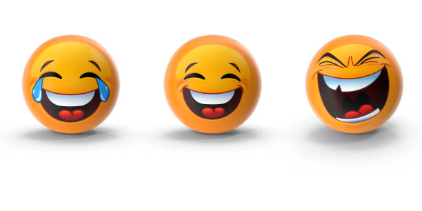 cute 3d emoji set of three emotions against white - emoji foto e immagini stock