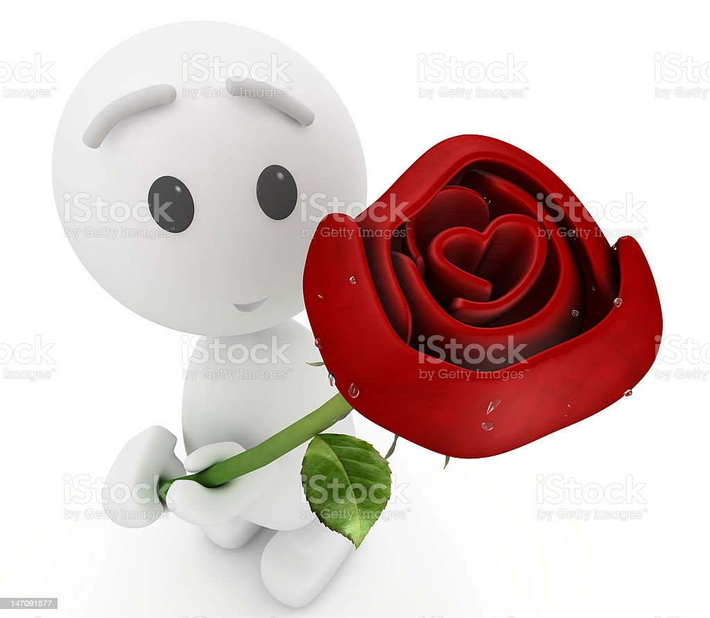 cute 3d guy offers you a rose(