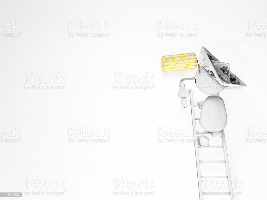 cute 3d guy paints on a white wall (happyman series) stock photo