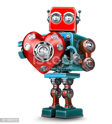 istock Cute 3d Retro Robot obot with red heart. Isolated. Contains clipping path 811500722