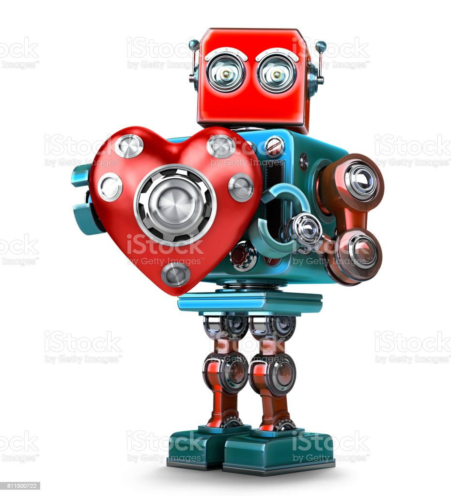 Cute 3d Retro Robot obot with red heart. Isolated. Contains clipping path stock photo