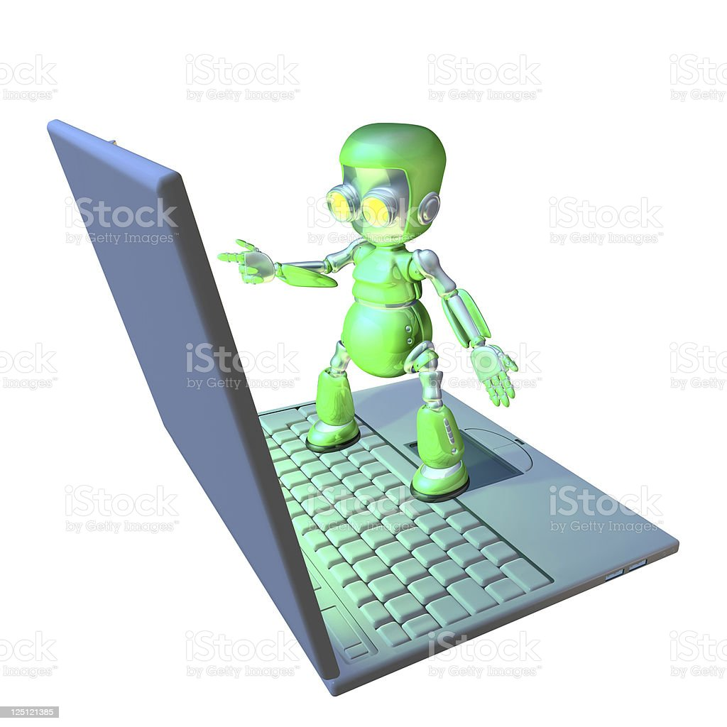 Cute 3d robot character standing on a laptop royalty-free stock photo