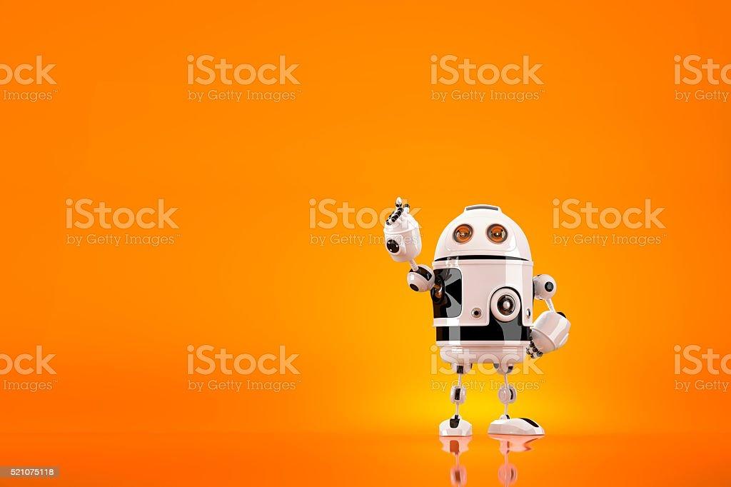 Niedlich 3D Roboter zeigt entfernt. Mit Clipping-Pfad – Foto