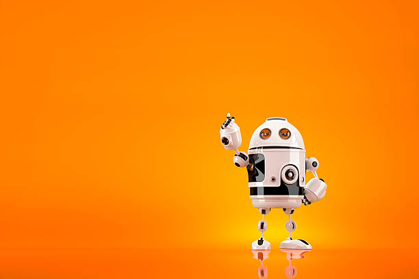 Cute 3D Robot pointing away. Contains clipping path stock photo