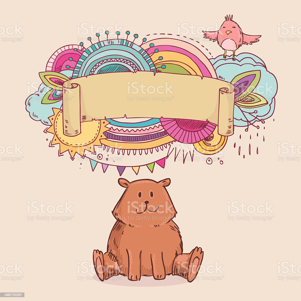 Cute abstract party frame with bear stock photo