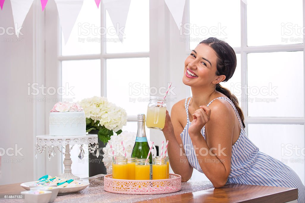 Cute adorable planner organizer homemade mimosa champagne brunch party stock photo