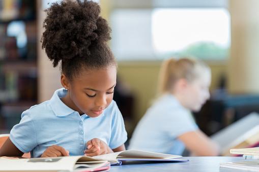 Cute African American Schoolgirl Reading A Book In The Library Stockfoto en meer beelden van Afrikaanse etniciteit