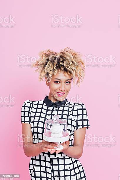 Cute Afro American Small Business Owner Holding Cookies Stock Photo - Download Image Now