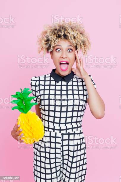 Cute Afro American Young Woman Holding Paper Pineapple Stock Photo - Download Image Now