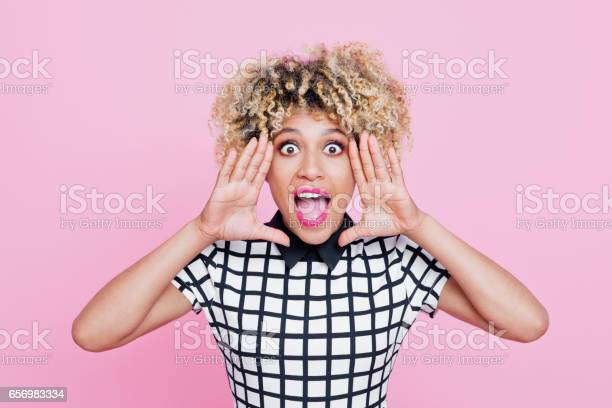 Cute Afro American Young Woman Shouting Stock Photo - Download Image Now