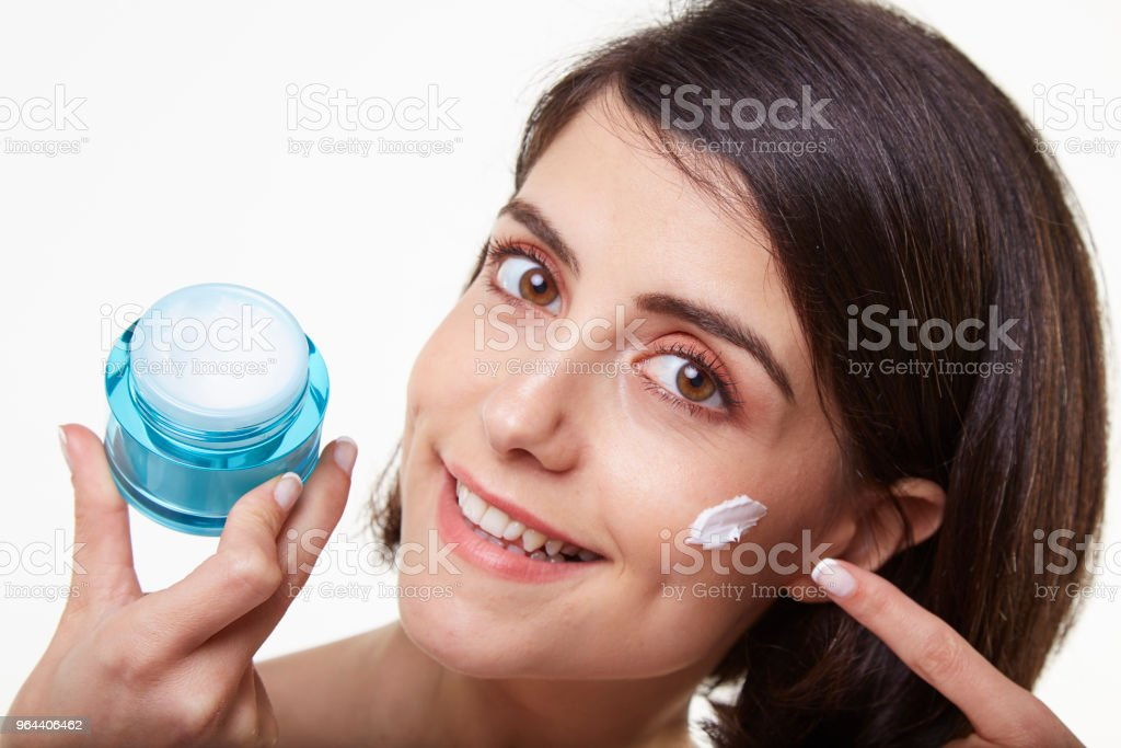 cute and beauty young woman and cream - Royalty-free 20-29 Years Stock Photo