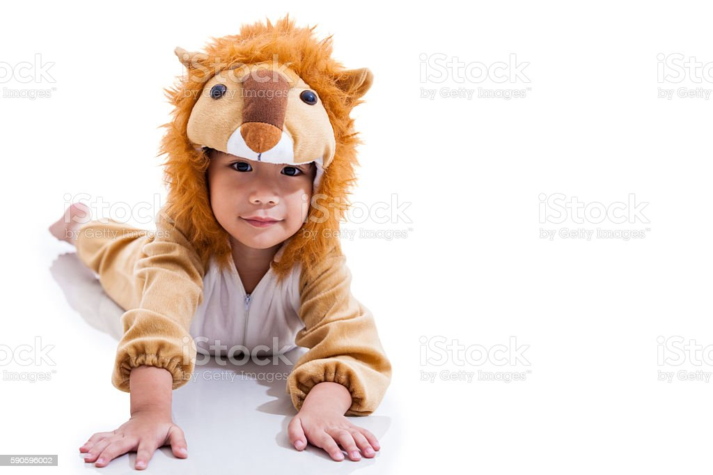 Cute asian boy dressed in lion suit. Isolated on white. stock photo