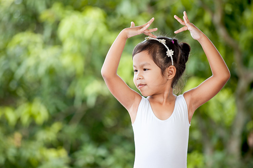 Cute Asian Child Girl Is Practicing A Ballet And Dream Of Become Ballerina Stock Photo - Download Image Now