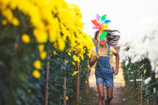 Nette asiatische Kind Mädchen läuft und spielt mit Windkraftanlage Spielzeug mit Spaß im Blumenfeld – Foto