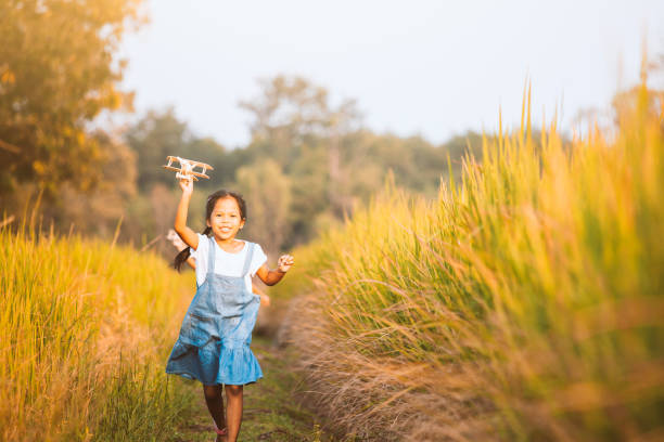 Cute asian child girl running and playing with toy wooden airplane in the field at sunset time stock photo